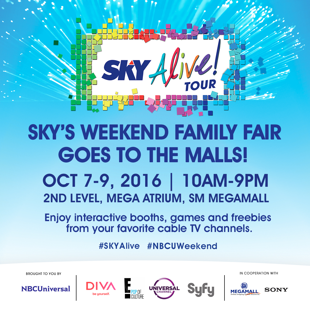 Play movie trivia games, Sing a la Mariah as SKY Alive! tour brings NBC Universal to SM Megamall on October 7 to 9