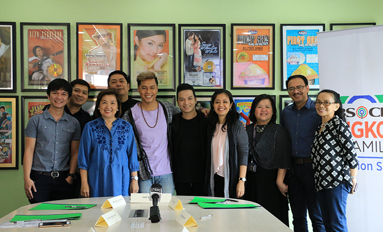Star Music and ALKFI executives with 'Pagka't Nariyan Ka' composers Zion Aquino and Trina Belamide and singer Sam Mangubat