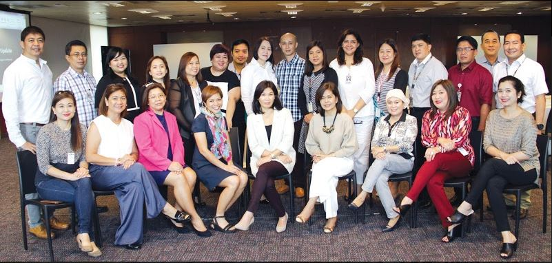 Woodrow Francia—Southern Tagalog Head; Bernie Acosta—Engineering Head; Gracelle Travino—Business Development Head; Faye Gutierrez—Executive Secretary to the Division Head; May Lyn Cainhog— Butuan, Iligan, Dipolog Head; Donna Ocampo—CDO Head; Aldrin Grande—ARC OIC; Atty. Abigail Querubin-Aquino—VP, ABS-CBN Regional; Roberto Ruiz—FM Programming Head/OIC Radio Business Head; Adel Sampayan—GenSan, Cotabato, Koronadal; Amy Villafuerte—Bicol Head; Remy Florendo—Palawan, Laoag, Vigan; Bernie Aldana—Baguio Head; Romeo Cerillo—Tacloban Head; Stanley Palisada—News Bureau Head; and Clifford Nolldo—Iloilo Head Front row, L-R: Tina Barbin—CCM; Ikit Garcia—Davao and Production Head; Mae Cortes—Isabela/Tuguegarao Head; Trisha Corpus—Mindanao Cluster Head; Gemma Cacas—Pampanga/Cluster Head of Luzon; Tata Sy—Cebu/ Dumaguete/Visayas Cluster Head; Soraida Edris—Zamboanga Head; Leilani Alba—Bacolod Head; and Joanne Dadivas—Roxas/Kalibo Head. Not in photo: Gina Almazan—Dagupan/Olongapo Head