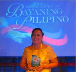 Rebecca Ouano from Cebu won the Bayaning Pilipino – Guro category award in the Gawad Geny Lopez Jr. Bayaning Filipino Awards. (PHOTO CREDIT: Rebecca Ouano's Facebook page)
