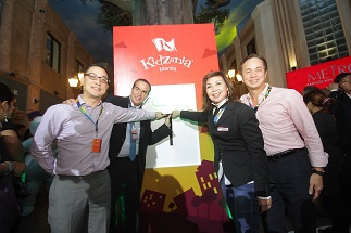 ABS-CBN COO Carlo L. Katigbak, KidZania president and founder Xavier Lopez, state governor of KidZania Manila Maricel Pangilinan-Arenas and ABS-CBN chairman Eugenio Lopez III power the city during KidZania Manila's press launch in July