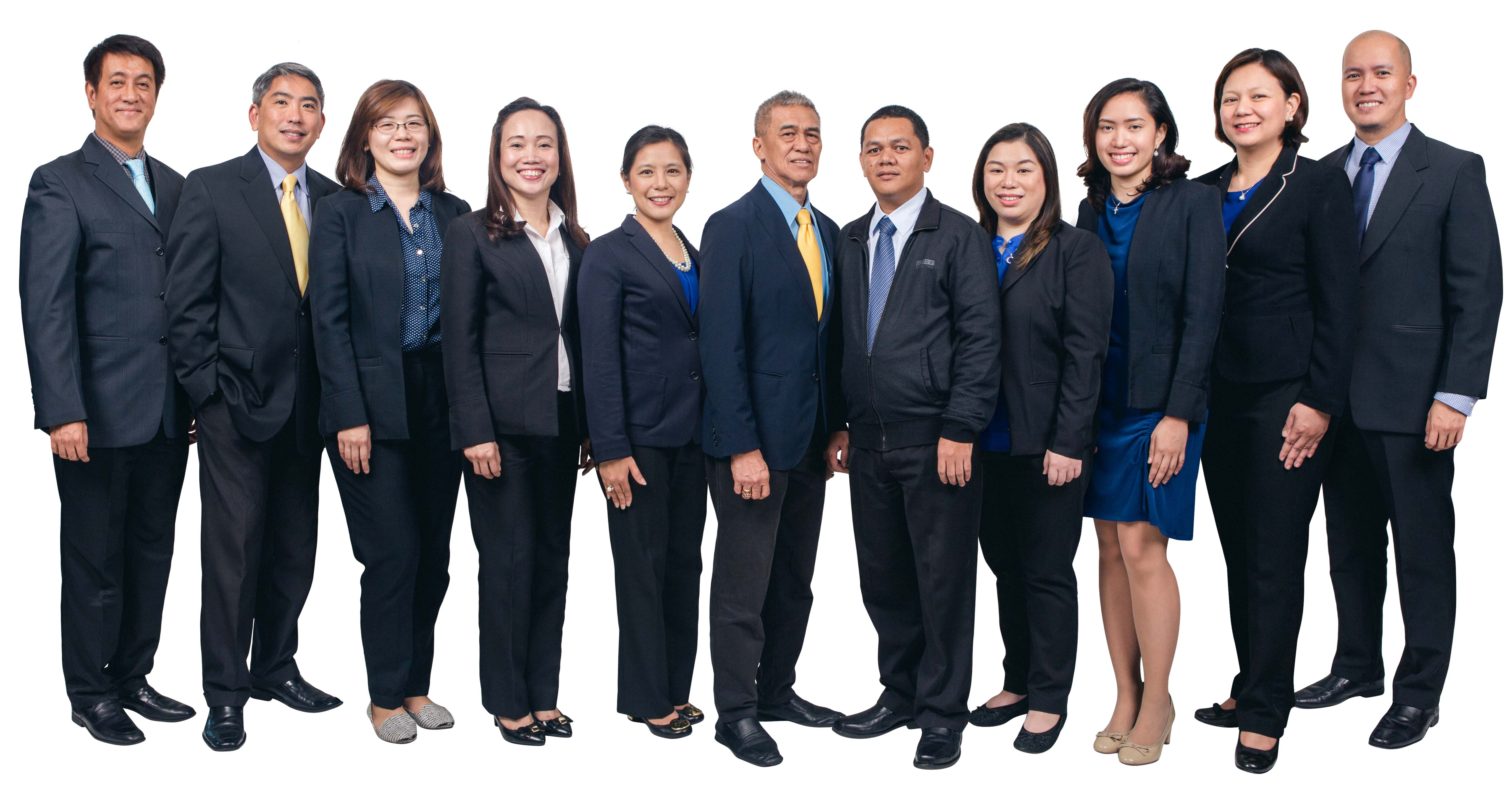 L-R: Alwin Sta. Rosa, president and general manager; Dr. Louis Jison, EyeScan director; Dr. Mary Catacutan, Research head; Anneline Baseleres, Patient Flow Center head; Dr. Patricia Manuel, Strategic Operations head; Dr. Juan Ma. Pablo Nañagas, Medical and Research director; Stanley Mendoza, Treasury, Accounting and Patient Benefits head; Dr. Lynnie Cu, Optical Services head; Audrey Trinidad, Marketing head; Maribel Rubia, Business Development and Marketing OIC; Dr. Gualberto Dato, Optometry Services OIC; and Dr. Joy Pabellon, CRO head (not in photo)