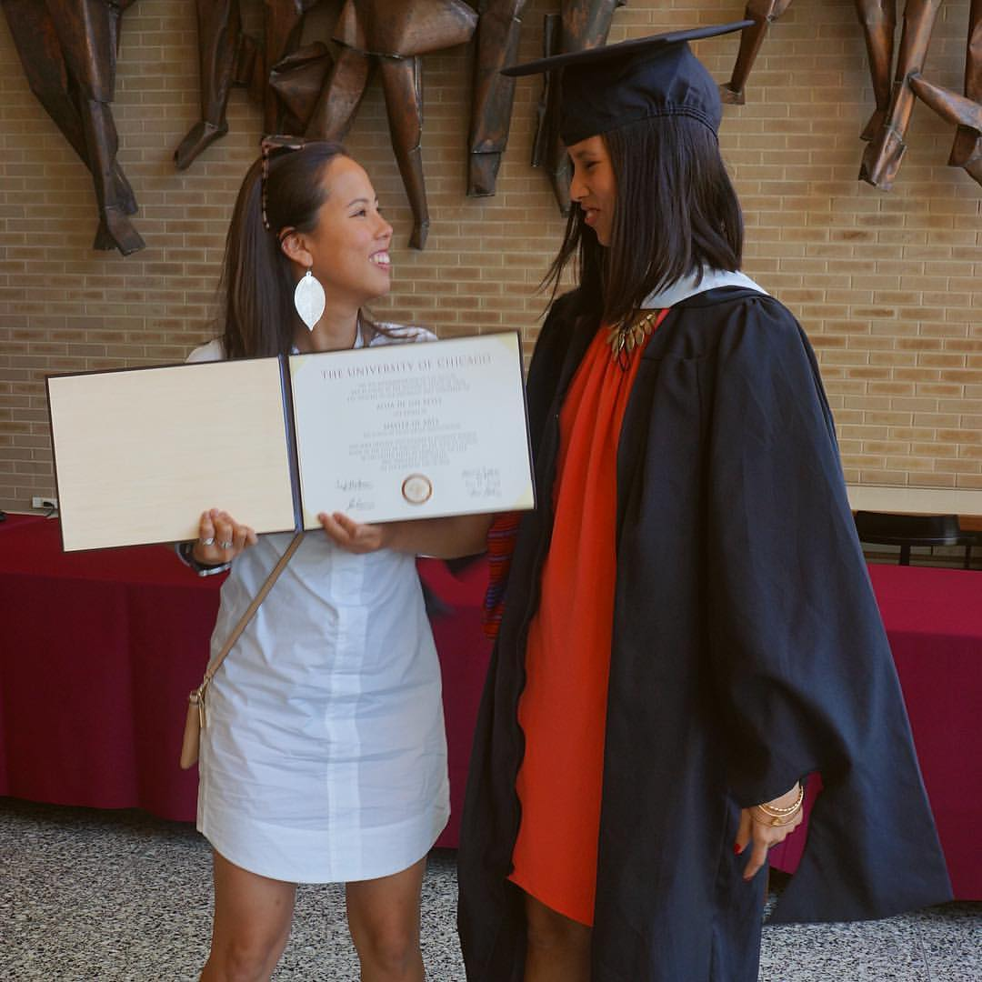 The De los Reyes sisters share a light moment during Alisa's graduation from the University of Chicago
