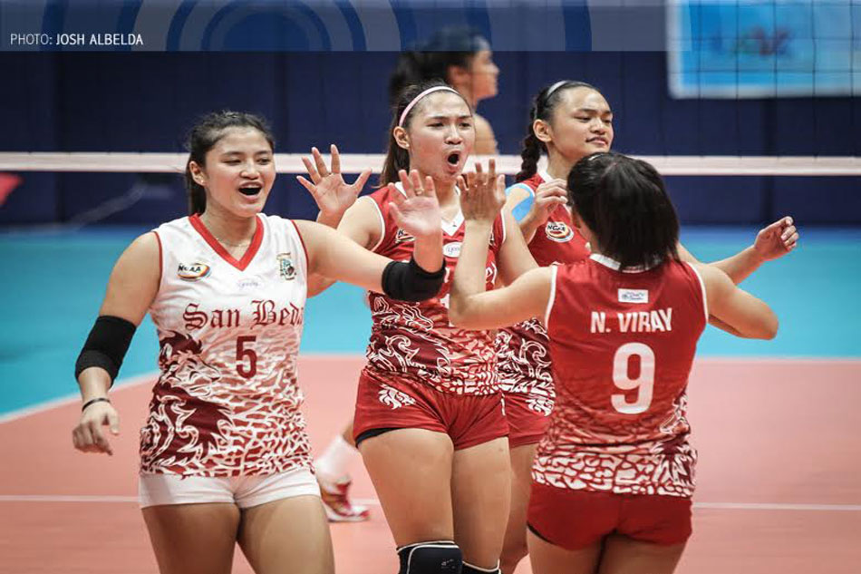 Ces Racraquin (middle) has been leading the charge for the Lady Red Spikers in their campaign for a NCAA volleyball title