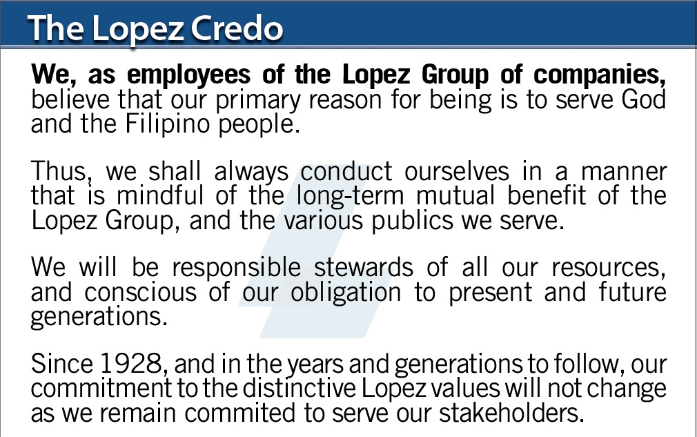 The Lopez Credo and Values