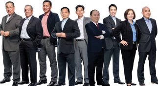 EVP Ernie Pantangco, SVP, CFO and treasurer Nestor Vasay, SVP Dom Camu, NIGBU and MAGBU head Jimmy Villaroman, LGBU head Mark Habana, WINBU head Reman Chua, BGBU head Jay Soriano, VP Beth Nasol and VP Rassen Lopez