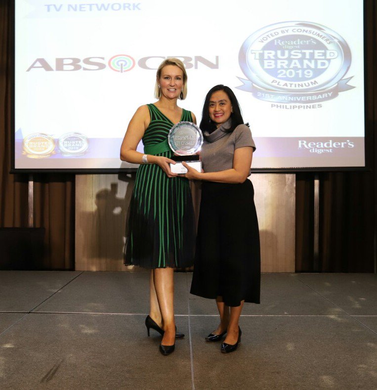ABS-CBN wins its fourth consecutive platinum brand award from Reader's Digest Trusted Brands Awards