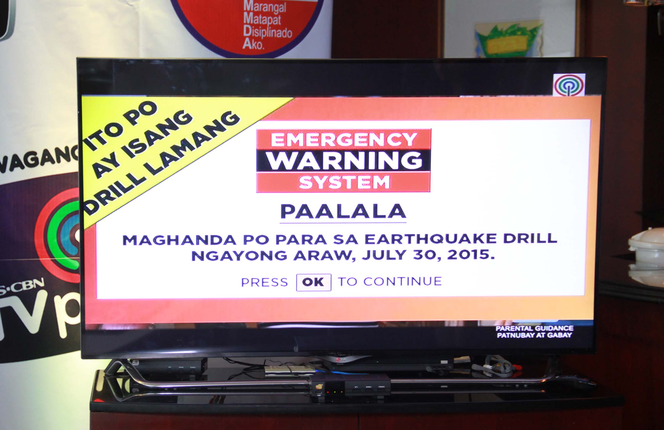 ABS-CBN TVplus users will receive warning messages on their TVs during the July 30 earthquake drill