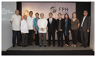 "FPH's ""Circa 89"" led by chairman emeritus OML and chairman Federico R. Lopez (5th and 6th from left): Benjamin Liboro, Elpidio Ibañez, Ramon Pagdagdagan, Beth Canlas, Millet Sabella, Corie Miguel, Nena Wieneke and Anthony Mabasa (Not in photo: Vicky Martinez)"