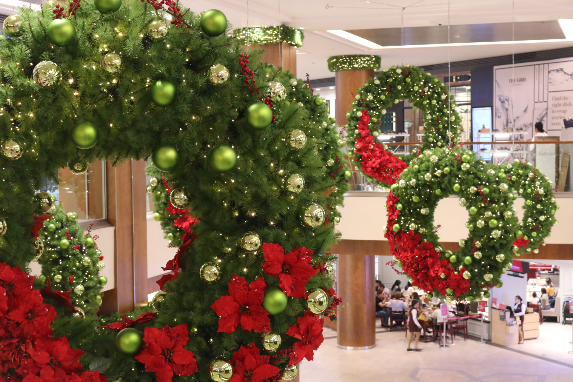 The giant wreaths are among the mall's trademark Christmas ornament