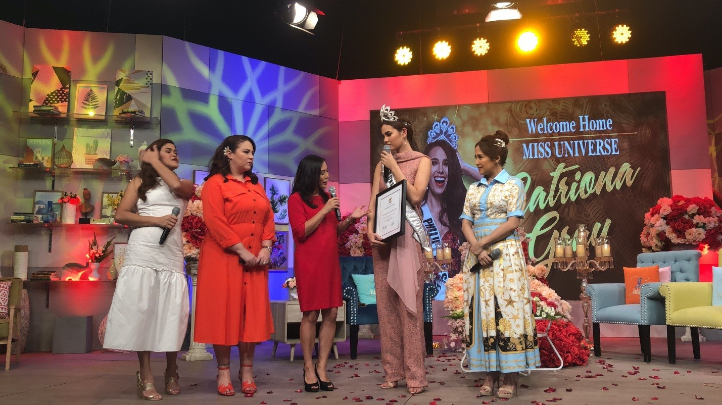 "KCFI confers the title ""Ambassador for Knowledge"" to 2018 Miss Universe Catriona Gray during her homecoming guesting in Magandang Buhay last February."