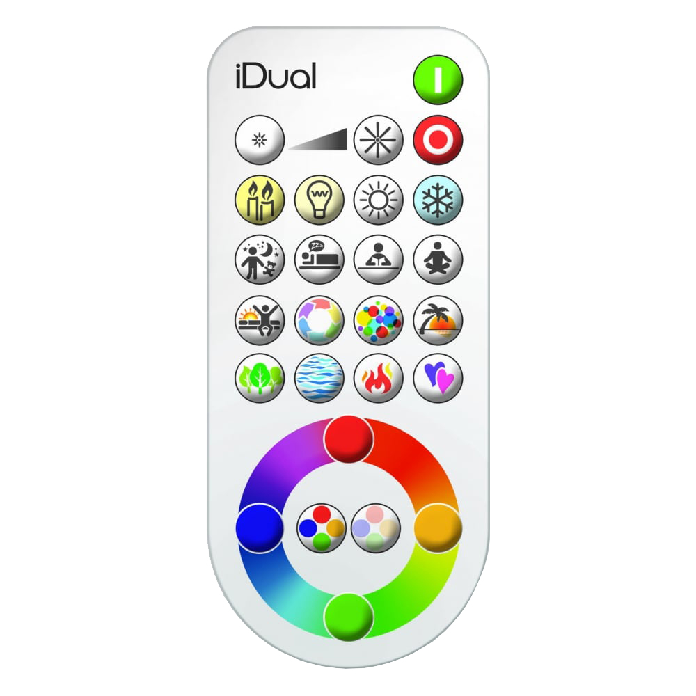iDual has a remote control to activate the light features