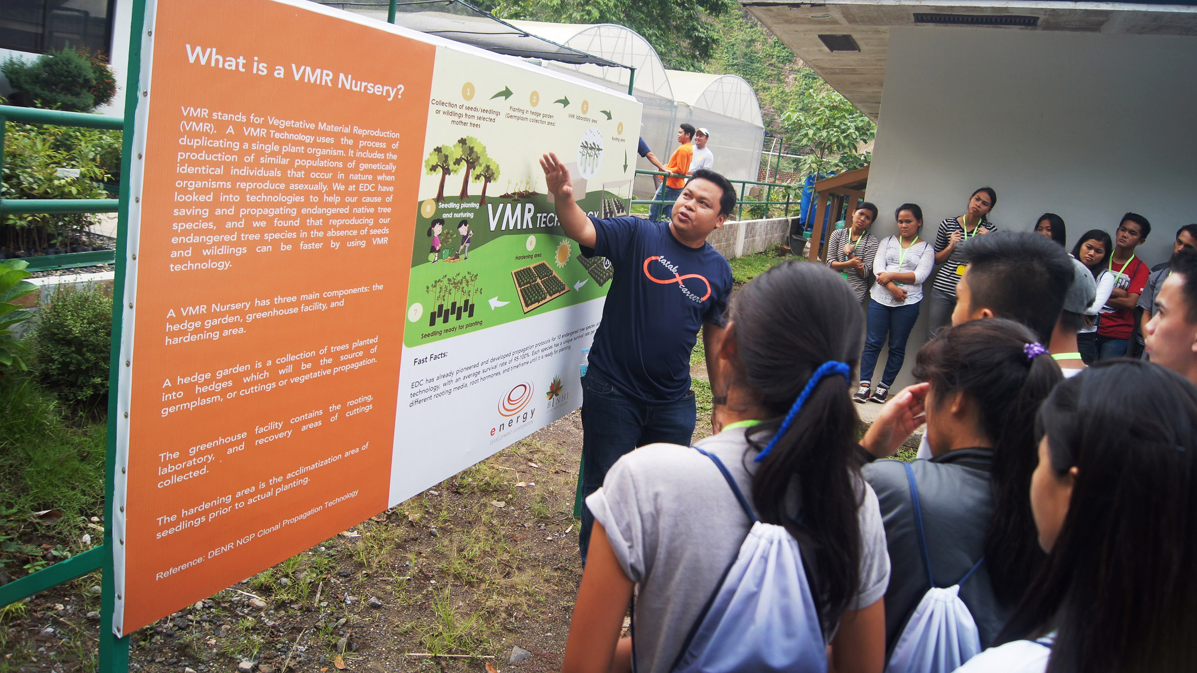 The BINHI team regularly conducts information drives in its VMR nurseries to spread awareness of the importance of planting and growing Philippine native trees
