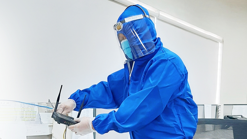 SKY technicians don complete PPE and observe other safety procedures when going to subscribers' homes