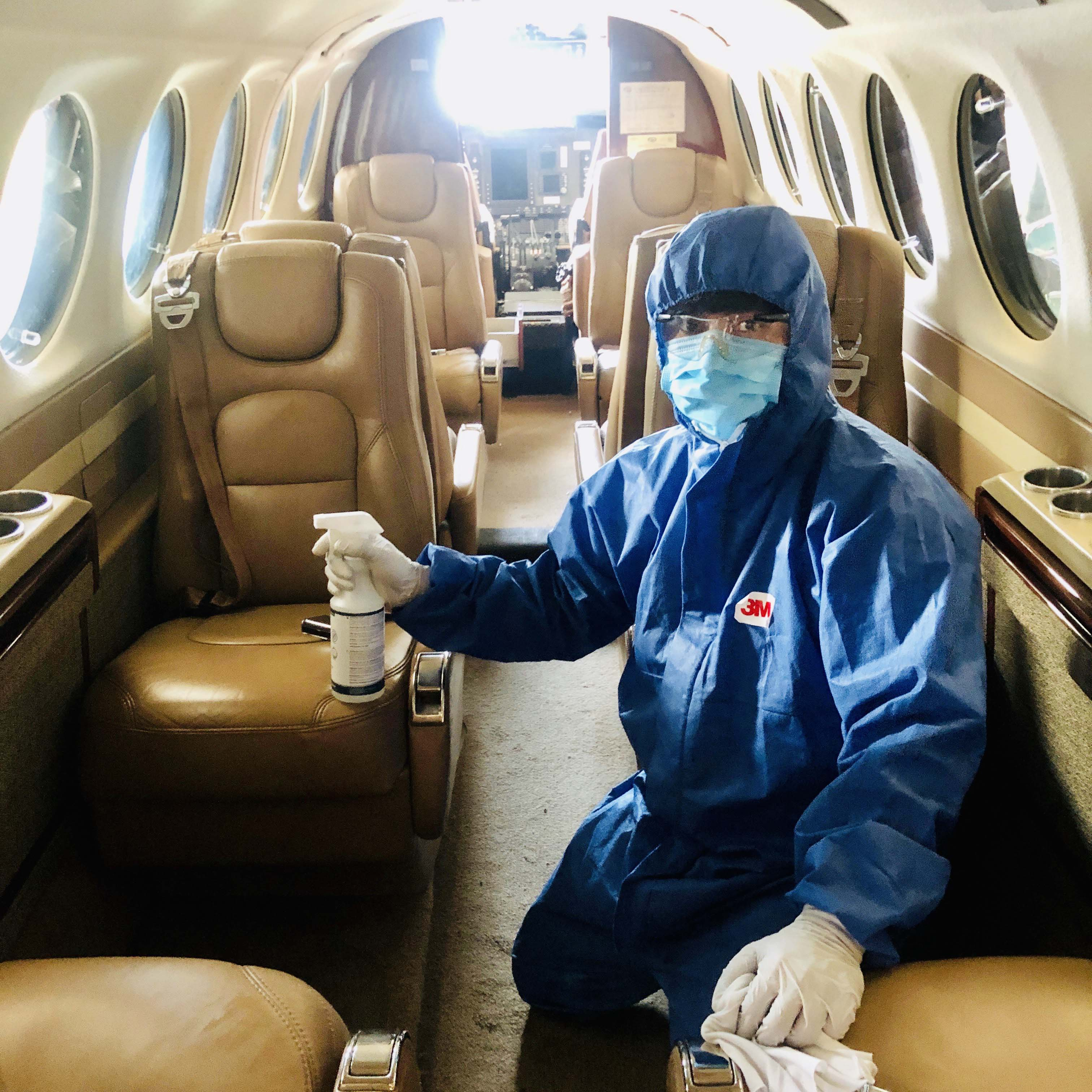 Aircraft disinfection is one of the safety protocols in place at INAEC; the company procured disinfectants for its aircraft, hangars and equipment as news about COVID-19 started to spread early this year