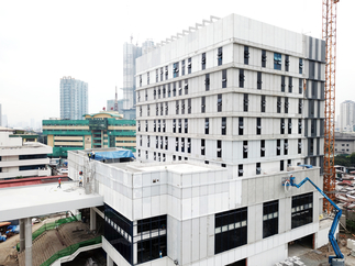 Work is ongoing on the Civil Registry System-Information Technology Phase II Building in Quezon City