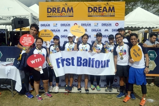 The newest batch of First Balfour runners at the recent The Bull Runner Dream Marathon