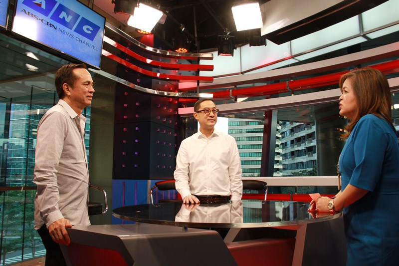 ABS-CBN chairman Eugenio Lopez III, president and CEO Carlo Katigbak, and News and Current Affairs head Ging Reyes during the blessing of ANC's Rockwell Center studio in January