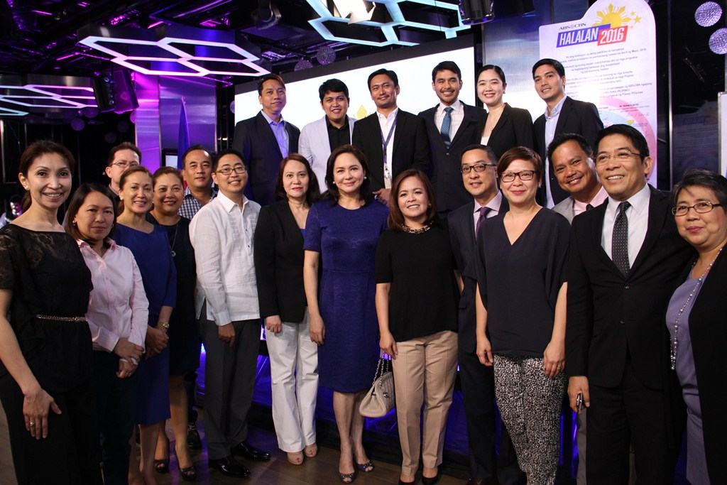 Katigbak with the ABS-CBN News team and other executives at the launch of Halalan 2016 last June