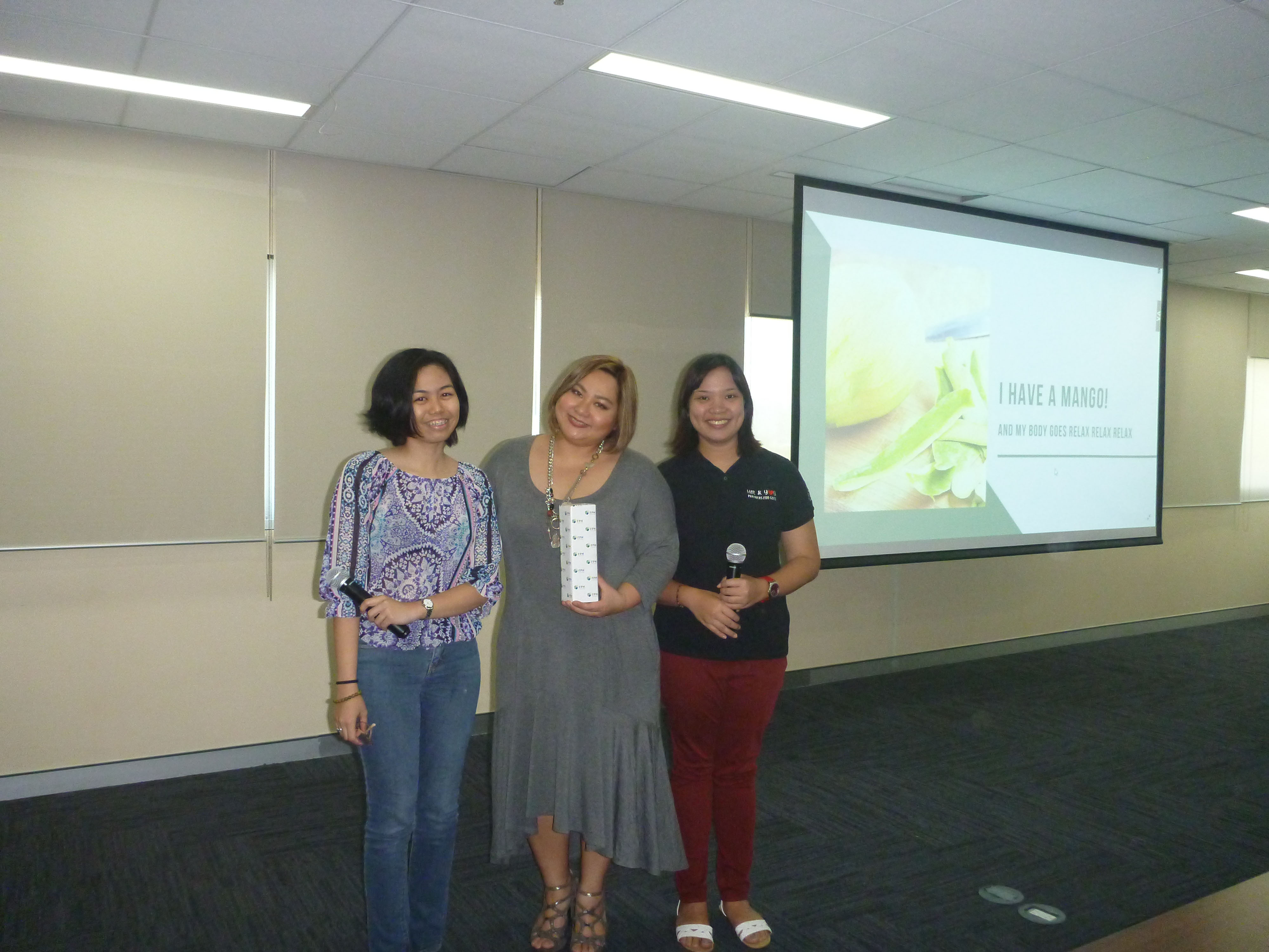 Event hosts Clowee Licsi of First Gen and Ayesha Volpane of FPH with resource person Kimberly Lu