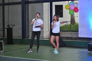 Emcees JC Alelis and Gretchen Ho