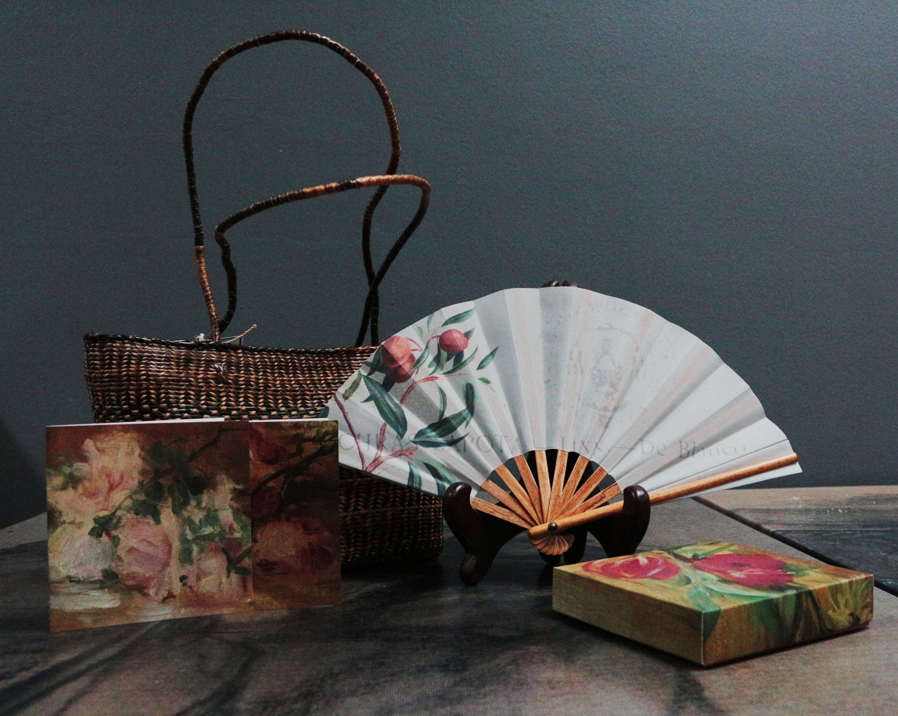 Luna note cards (set of 12), P280; Hand-woven nito bag, P930; Blanco fan, P650