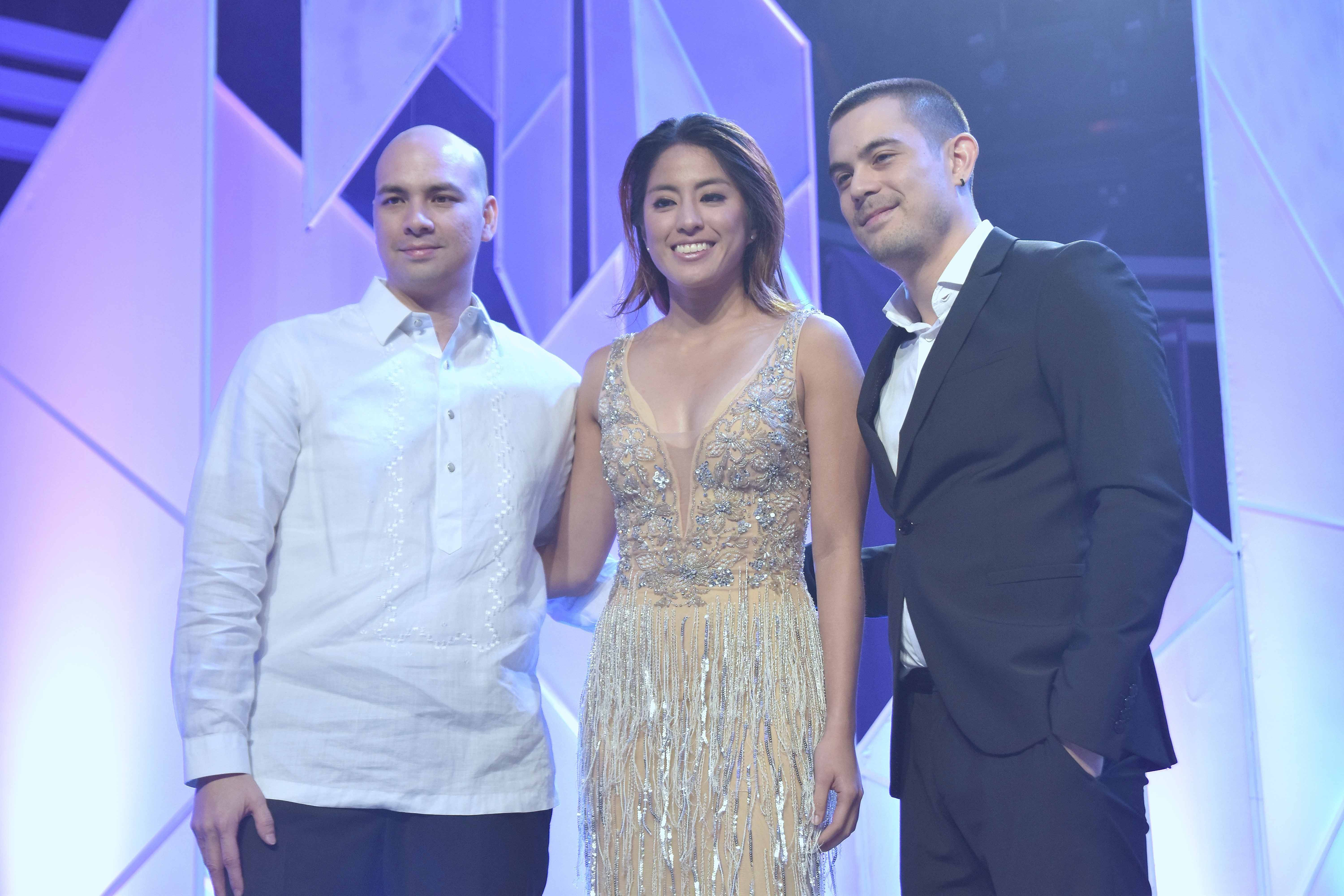 Program hosts Jamie Lopez and Chris Lopez with ABS-CBN host Gretchen Ho