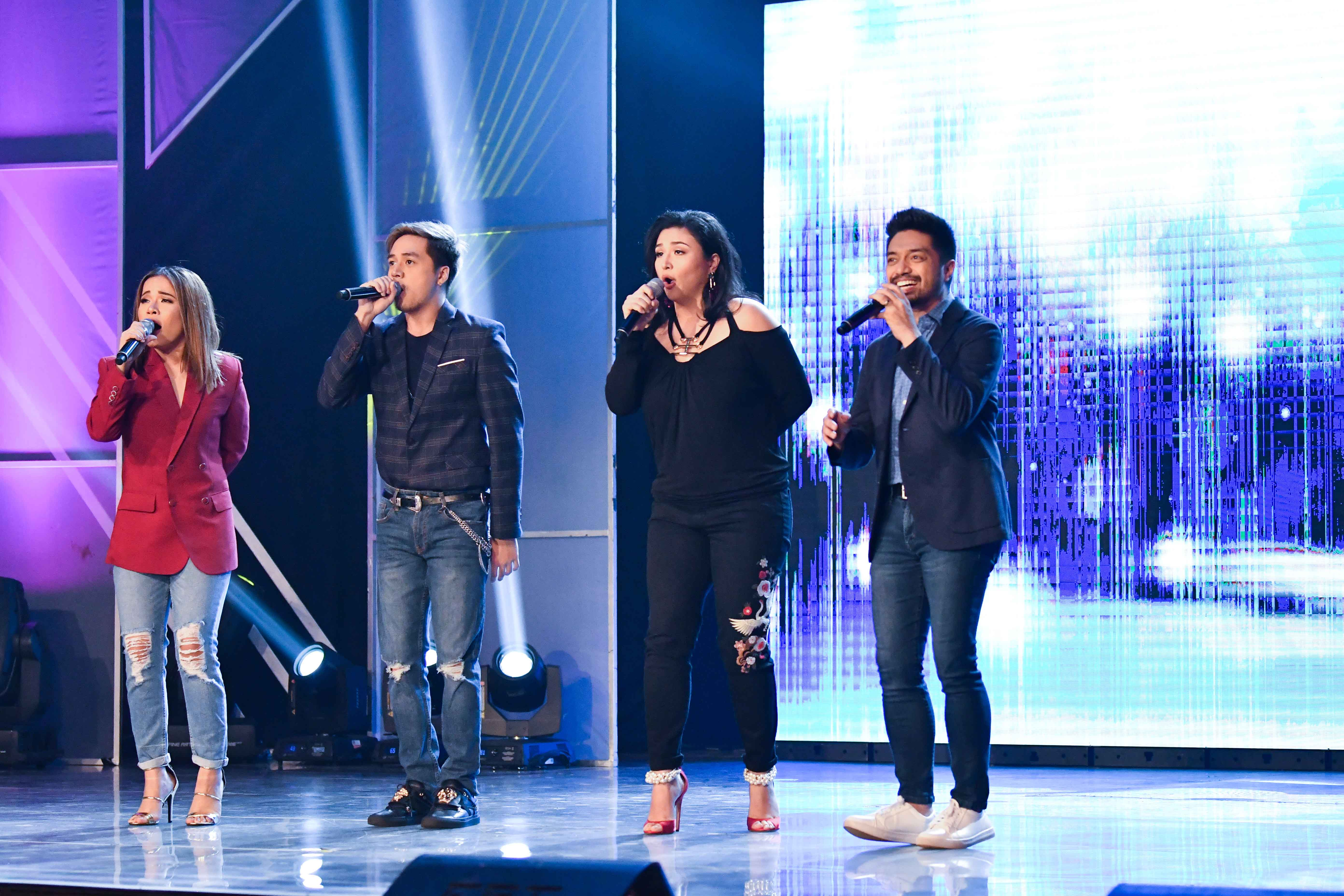Nyoy Volante, Radha, Sam Concepcion and Klarisse de Guzman fire up the audience with a medley of inspiring anthems