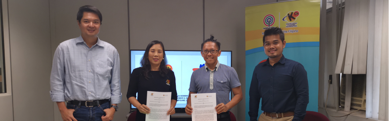 President Rina Lopez-Bautista and director for Operations Edric Calma sign the memorandum of understanding for KCFI alongside ANSA-EAP executive director Redempto Parafina and researcher Wilson Villones