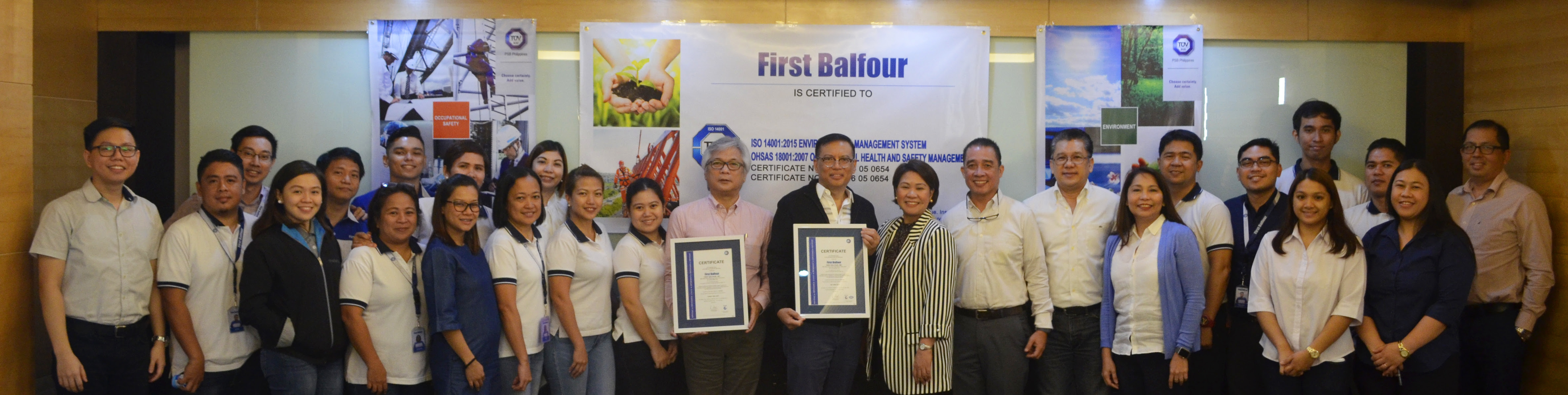 First Balfour receives ISO 14001, OHSAS 18001 certificates from TÜV SÜD