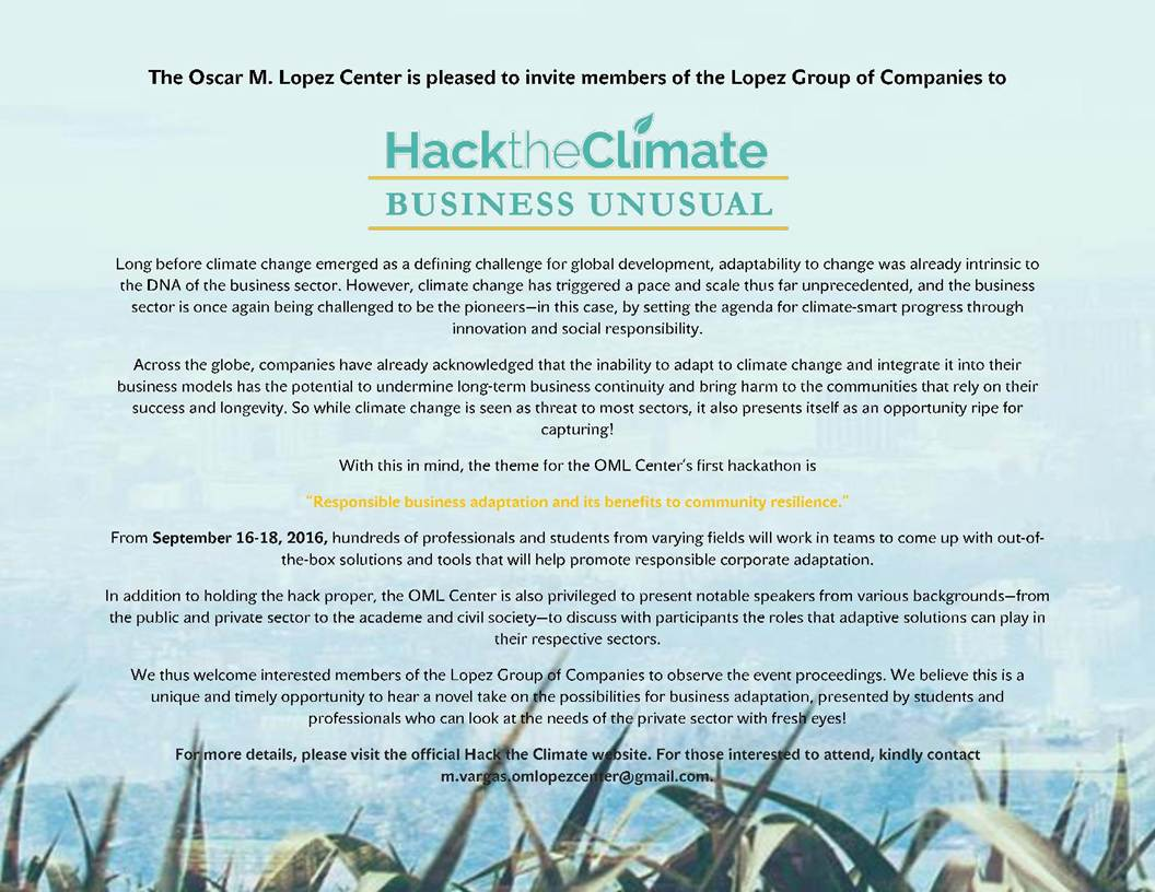 Hack The Climate, Business Unusual