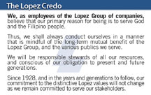 Lopez Credo card now in plastic version