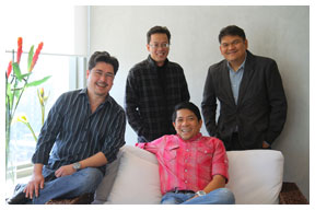 """The Happy Bosses"" of ICCM, clockwise from left: Ira Zabat, Johnny de los Santos, Patrick de Leon and ICCM head Robert Labayen"